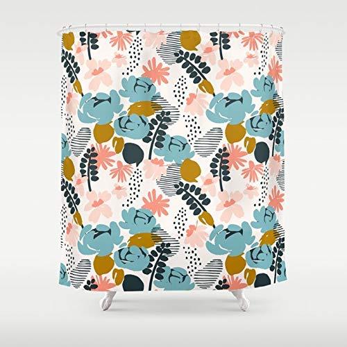 Toll2452 Muster Duschvorhang Blumenmuster Vorhang blau Badezimmer Dekor rosa Duschvorhang geometrischer Druck Botanischer Duschvorhang Marineblau Senf
