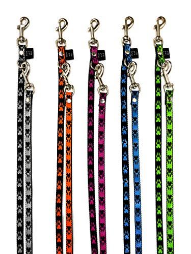 elropet Hundeleine Doppelleine Pfötchen für kleine Hunde 3/4/5-fach verstellbar 2-5m (5,00m 5-Fach verstellbar, Schwarz-Orange)