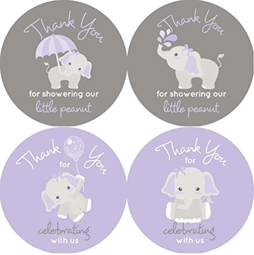 2 Inch Thank You Stickers Girl Baby Shower Favor Labels Gray Elephant (Purple)