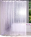 Yellow Weaves PVC Waterproof Shower Curtain; 54 X 84 Inches with 8 Hooks (Transparent)