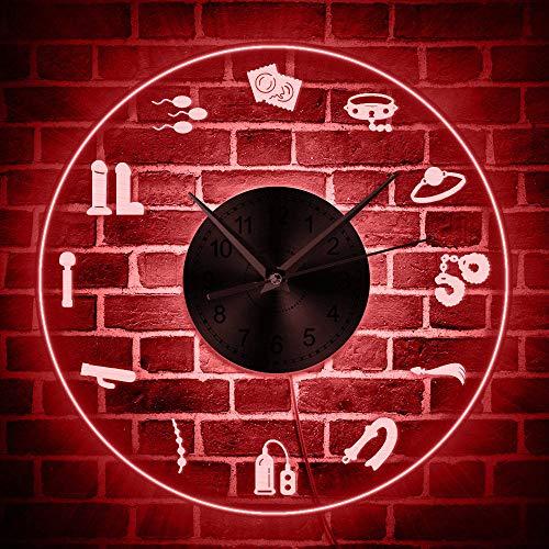 bbmmww Tienda para Adultos Reloj De Pared Luminoso con Letrero De Neón Productos del Sexo Cartel De Pared para Tienda con Retroiluminación Led Neumático Reloj De Entretenimiento Erótico Sexual