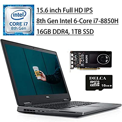 "2020 Newest Dell Precision 7530 Mobile Workstation Laptop I 15.6"" FHD IPS I Intel 6-Core i7-8850H I 16GB DDR4 1TB SSD I 4GB Quadro P2000 Thunderbolt Backlit KB Win 10 Pro + Delca 16GB Micro SD Card"