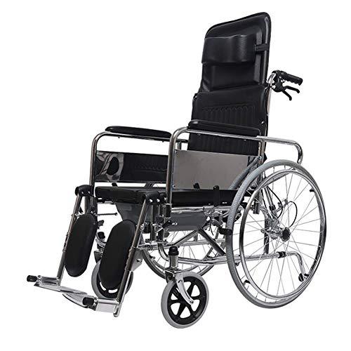 Z-SEAT Cómoda para Silla de Ruedas reclinable Deportiva, Silla de Ruedas para Ducha con Ruedas, con Brazos de Longitud de Escritorio Desmontables y reposapiernas elevable, para disca