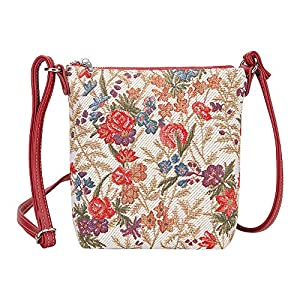 Signare Tapestry Small Cross body Bag Sling Bag for Women with Floral Design from V&A Museum (Flower Meadow; SLING-FLMD)