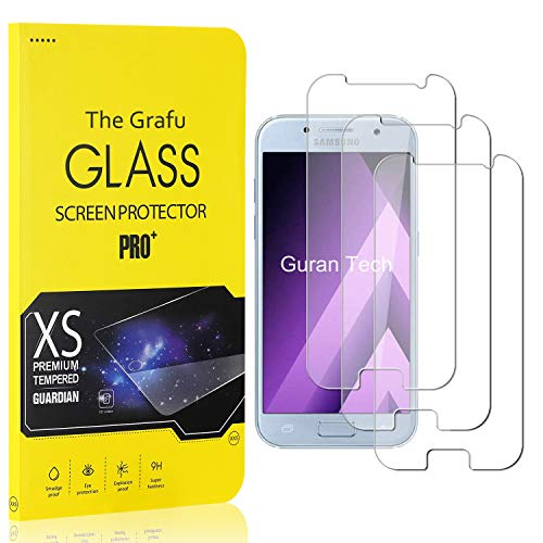 The Grafu Vetro Temperato Compatibile con Galaxy A3 2017, Alta Trasparenza, Nessuna Bolla, Durezza 9H Pellicola Protettiva in Vetro Temperato per Samsung Galaxy A3 2017, 3 Pezzi