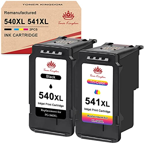 Toner Kingdom PG-540XL CL-541XL Cartuchos de Tinta Remanufacturados Compatibles para Canon 540 541 para Canon MG4250 MG3650 MG3550 MG3250 MG3150 MG2250 MX535 MX475 TS5150 TS5151 (1 Negro,1 Tricolor)