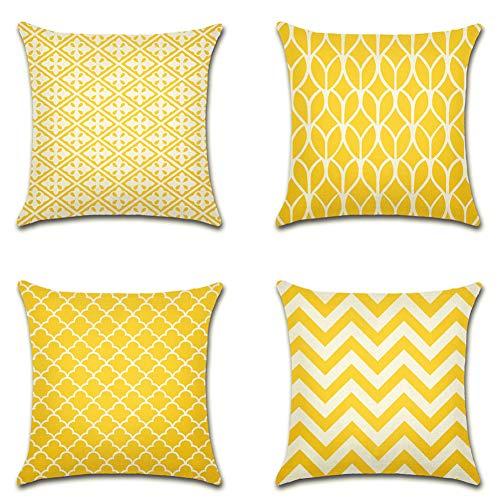 Artscope Moderne Geometrische Kissenbezug, 4er Set Dekokissen Kissenhülle Kissen Fall für Sofa Auto Schlafzimmer 45x45cm Gelb