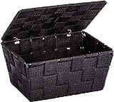 WENKO Cesta para el baño Adria con tapa negra - cesta para el baño, Polipropileno, 19 x 10 x 14 cm, Negro