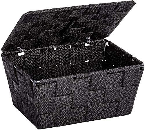 WENKO Aufbewahrungskorb mit Deckel Adria - Badkorb, 19 x 10 x 14 cm, schwarz