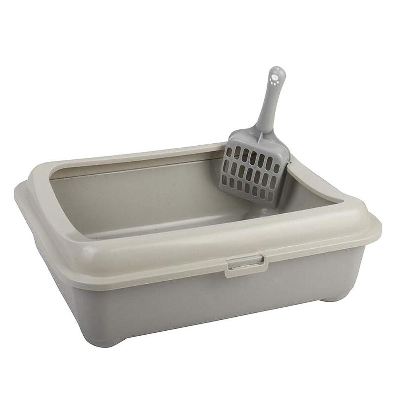 ファンタジー変数起きて屋内および屋外用スクープハイサイドリムパンルーアンチスプラッシュ付きオープンキャットトイレトイレ (Color : Gray, Size : B)