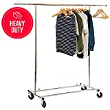 Basics Hardware Elegant Commercial Grade Clothing Garment Rack, Extendable Hanging Rack, Chrome Rolling Rack