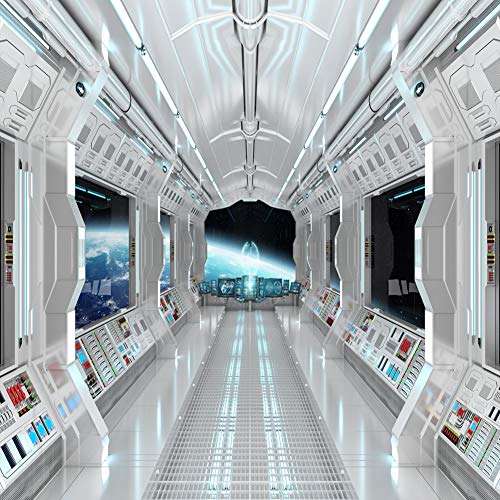 LYWYGG 10X10FT Spaceship Interior Background Futuristic Science Fiction Photography Backdrops Spacecraft Cabin Photo Shoot Studio Props Astronomy Universe Galaxy Outer Space Station CP361010