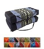 Collumino® - cuscino tradizionale Thai pieghevole in kapok, ideale per yoga e meditazione. Con maniglia per il trasporto , ., Azzurro, blu marino.