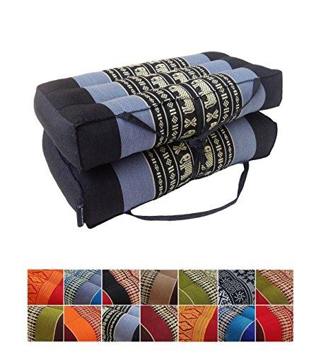 Collumino - cuscino tradizionale Thai pieghevole in kapok, ideale per yoga e meditazione. Con maniglia per il trasporto , ., Azzurro, blu marino.