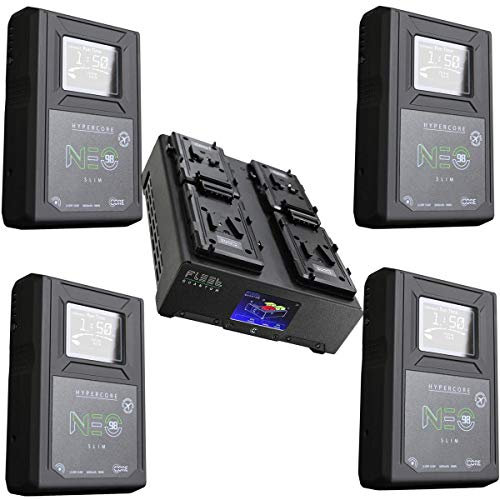 Core SWX 4X NEO Slim 98Wh 14.8V 6.6Ah V-Mount Lithium-Ion Battery Brick, Bundle V-Mount Li-Ion 4-Position Charger