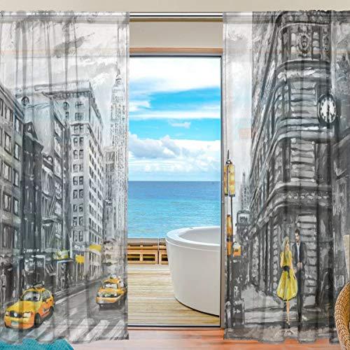 tende soggiorno new york DOSHINE Tenda velata New York City Street Art Pittura Tende Finestra Tenda per Ragazzi Ragazze Soggiorno Bagno Camera da Letto 139