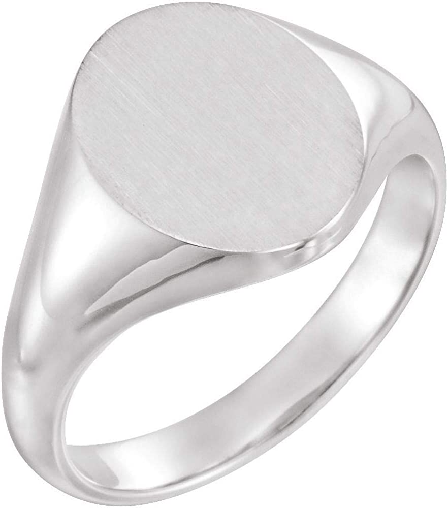 Solid Platinum 11x9.5mm Oval Ring Engravable OFFicial Mail order store Band Signet