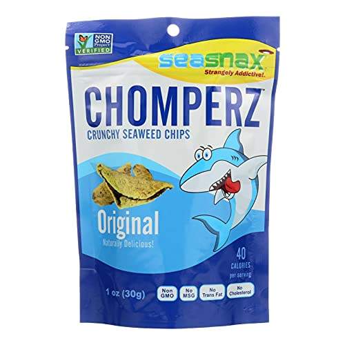 Seasnax Chomperz Crunchy Barbecue Seaweed Chips, 1 Ounce -- 8 per case. by SeaSnax