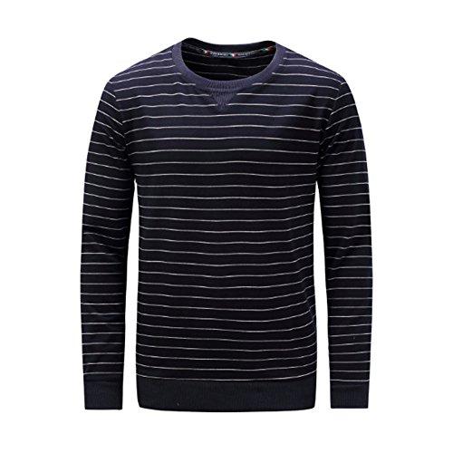 Meijunter Décontractée Hommes Rayure Coton T-Shirt Chandail en Vrac Manche Longue Sauteur Arrêtez-Vous Tops
