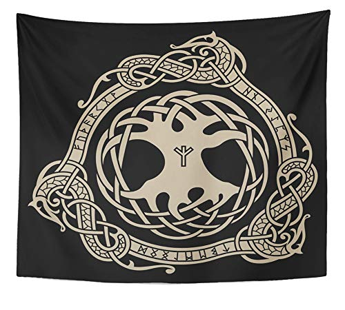 Emvency Tapestry Artwork Wall Hanging Yggdrasil Design of Raven in Celtic Scandinavian Style and Black Ancient 50x60 Inches Tapestries Mattress Tablecloth Curtain Home Decor Print