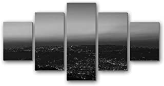 GLITZFAS PRINTS 5 Panel Wall Art Painting - Night City City Lights Skyline Amman Jordan - Canvas Stretched with Wooden Frame for Home Decor (8
