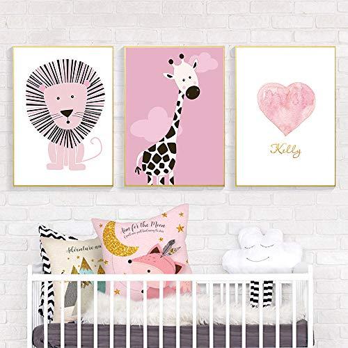 León jirafa póster lienzo arte bosque Animal pared arte impresión rosa imágenes decoración de habitación de bebé 51x71cmx3 sin marco
