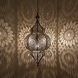 Casa Moro Lámpara oriental Melisa plateada H 54 cm con casquillo E27 con cadena y dosel | magnífica lámpara colgante de plata como en las 1001 noches | Artesanía de Marruecos | LN2010