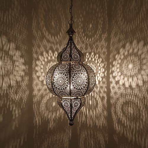 Orientalische Lampe marokkanische Pendelleuchte Melisa Silber H 54 cm E27 Fassung | Prachtvolle Deckenleuchte Silberlampe für tolle Lichteffekte wie aus 1001 Nacht | Kunsthandwerk aus Marokko | LN2010