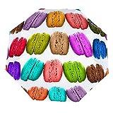 Paraguas anti-UV para sol/lluvia,Macarons coloridos aislados sobre fondo blanco Paraguas de viaje a prueba de viento: compacto, automático.