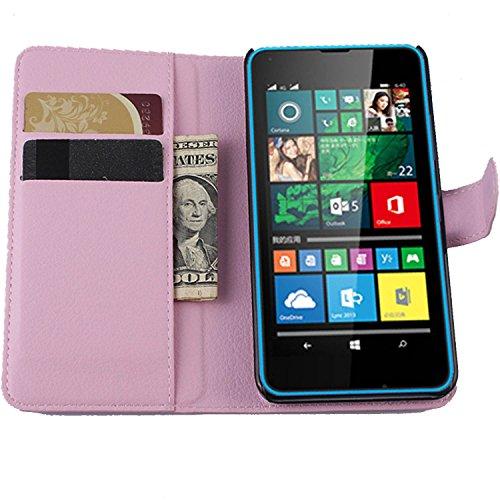 Ycloud Tasche für Microsoft Lumia 640 Dual-SIM Hülle, PU Ledertasche Flip Cover Wallet Hülle Handyhülle mit Stand Function Credit Card Slots Bookstyle Purse Design rosa