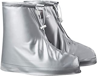 Flyme Outdoor Travel Waterproof Skid-Proof Rain Shoes Covers Reusable Snow Overshoes for Women Men(Silver Grey, XL)