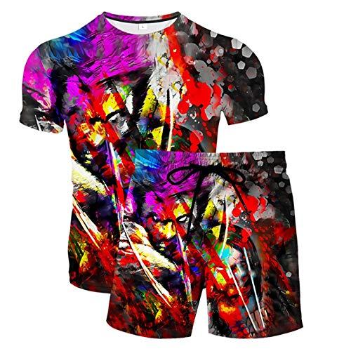 Novedad Unisex Camiseta con Estampado 3D Camisetas de Manga Corta y Bañadores para Hombre Pantalones Cortos Divertidos Bañadores de Secado Rápido Bañadores con Cordón(Rojo,S)