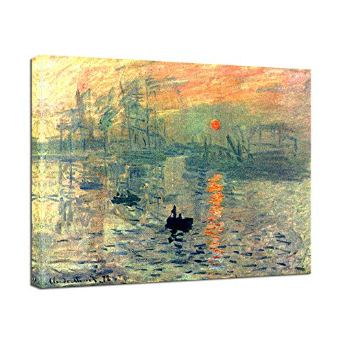 Wieco Art Impression, Sunrise Modern Framed Giclee Canvas Prints of Claude Monet Famous Oil Paintings Reproduction Seascape Artwork Sea Pictures on Canvas Wall Art Ready to Hang for Home Decorations