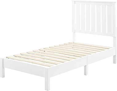 MUSEHOMEINC Solid Wood Toddler Platform Bed with with Adjustable Height Headboard,White Minimalist Twin Kids Bed for Guest Ro