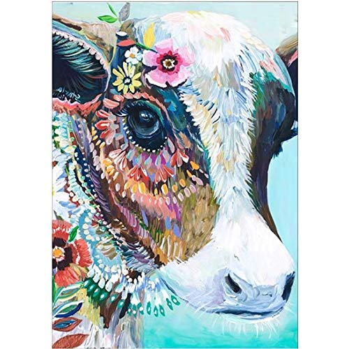 DIY 5D Diamond Painting Kits for Adults Full Drill Embroidery Paintings Rhinestone Pasted DIY Painting Arts Craft for Home Wall Decor (Floral Cow)