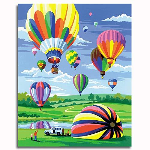 Kit de Pintura acrílica para niños y Adultos globo aerostático Pintura Pinturas-16x20 inch (40x50cm)Sin marco