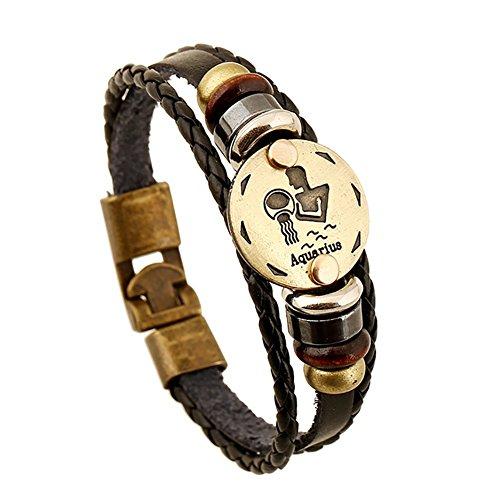Soleebee Schmuck Herren Damen Armband,Tierkreis Sternzeichen Charms Druckknopf Größen Armreif Büffelleder Legierung Schwarz (Wassermann )
