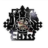 Juego de ajedrez Arte de la Pared Reloj de Pared Tablero de ajedrez Piezas Negras Estrategia Jugador Club Maestro de ajedrez Reloj de Registro de Vinilo Regalo de Amantes de ajedrez