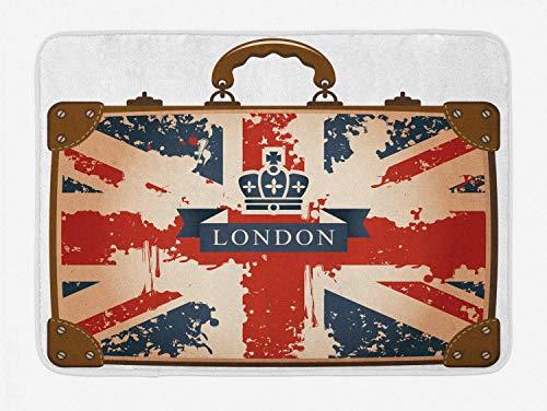MMPTN Union Jack Bath Mat Valigia da viaggio vintage con bandiera britannica Nastro Londra e corona Immagine Tappeto decorativo da bagno in peluche con supporto antiscivolo 15.7'X 23.6' Blu Marrone