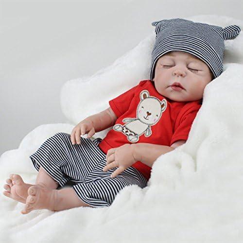 Reborn Baby Puppen Handgemachte Lebensechte Realistische Silikon Vinyl Baby Puppe Weiße Simulation 22 Zoll 55cm Augen Geschlossen mädchen Lieblings Geschenk Kann Ein Bad Nehmen