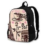 16.5 Lightweight Durable School Bags Bookbag Backpacks For Kids Teen,Paris Hand Drawn Symbols Set Representative College School Book Shoulder Bag Travel Daypack For Boys Girls Man Woman