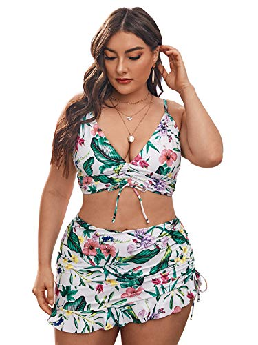 Romwe Women's Plus Size Floral Print 3 Pack Plunging Bikiki Swimsuit with Beach Skirts Multicolor 3XL