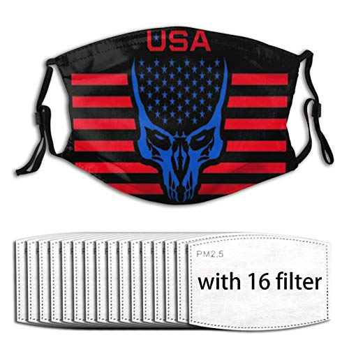 ZZFENG American Flag Skull Mouth Cover with 16activated Carbon Filters Piece