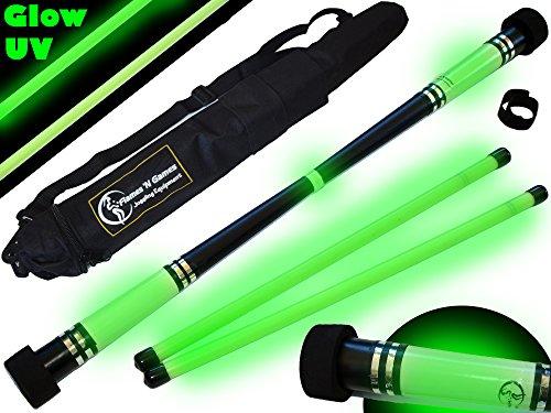 Flames N Games MOONSHINE Glow Devil Stick Set + Wooden Sticks + Travel Bag! Juggling Devil sticks