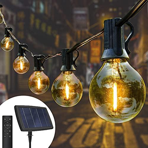 Yuusei Catena Luminosa Esterno Solare con Telecomando 15M Dimmerabile LED Luci Stringa Lampadina con 25+1 G40 Bulbi Bianco Caldo 4 Modalità Luci da Esterno e Interno per Terrazzo Festa Matrimonio