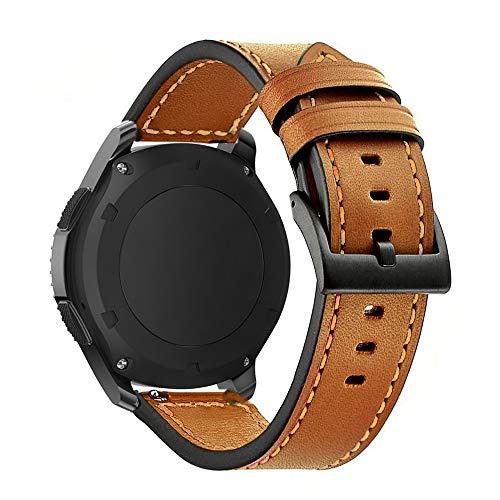 Omter Armband für Samsung Galaxy Watch (46mm),Ticwatch Pro/S2/E2,Amazfit Stratos,Huawei Watch 2 Classic,Gear S3 Frontier/Classic,22mm Echt Leder Armband Ersatzarmband Uhrenarmband(Leder Braun 2)