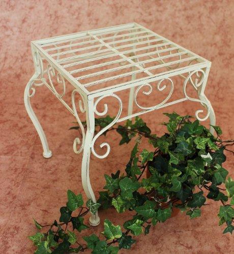 DanDiBo Blumenhocker Metall Weiß Eckig 30 cm Blumenständer 20217 Pflanzenständer Beistelltisch Klein