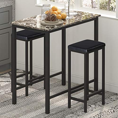 """HOMURY 3-Piece Pub Bar Table Set for 2, Faux Marble Tavern Set Breakfast Nook Dining Table Set with 2 Faux Leather Backless Stools, 35.4"""" W X 19.7"""" D X 37.4"""" H"""