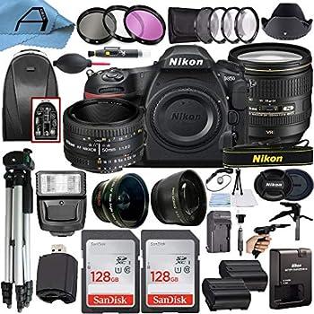 Nikon D850 DSLR Camera 45.7MP Sensor with AF-S NIKKOR 24-120mm f/4G ED VR & 50mm f/1.8D Dual Lens 2 Pack SanDisk 128GB Memory Card Backpack & A-Cell Accessory Bundle  Black