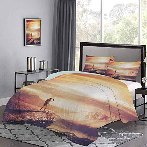 Quilt Cover Traveler Woman with Backpack on Mountain Surveying Sunset Adventure Photo Print Modern Lightweight Coverlet Quilt Set Nice and Vibrant Colors Multicolor